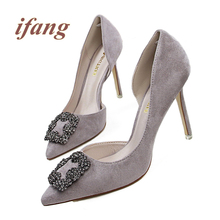 2016 Shoes Woman Sexy High Heel Female Pointed Toe Shallow Mouth Suede Rhinestone Buckle Cover Heel  Side Hollow  Slip On Shoes