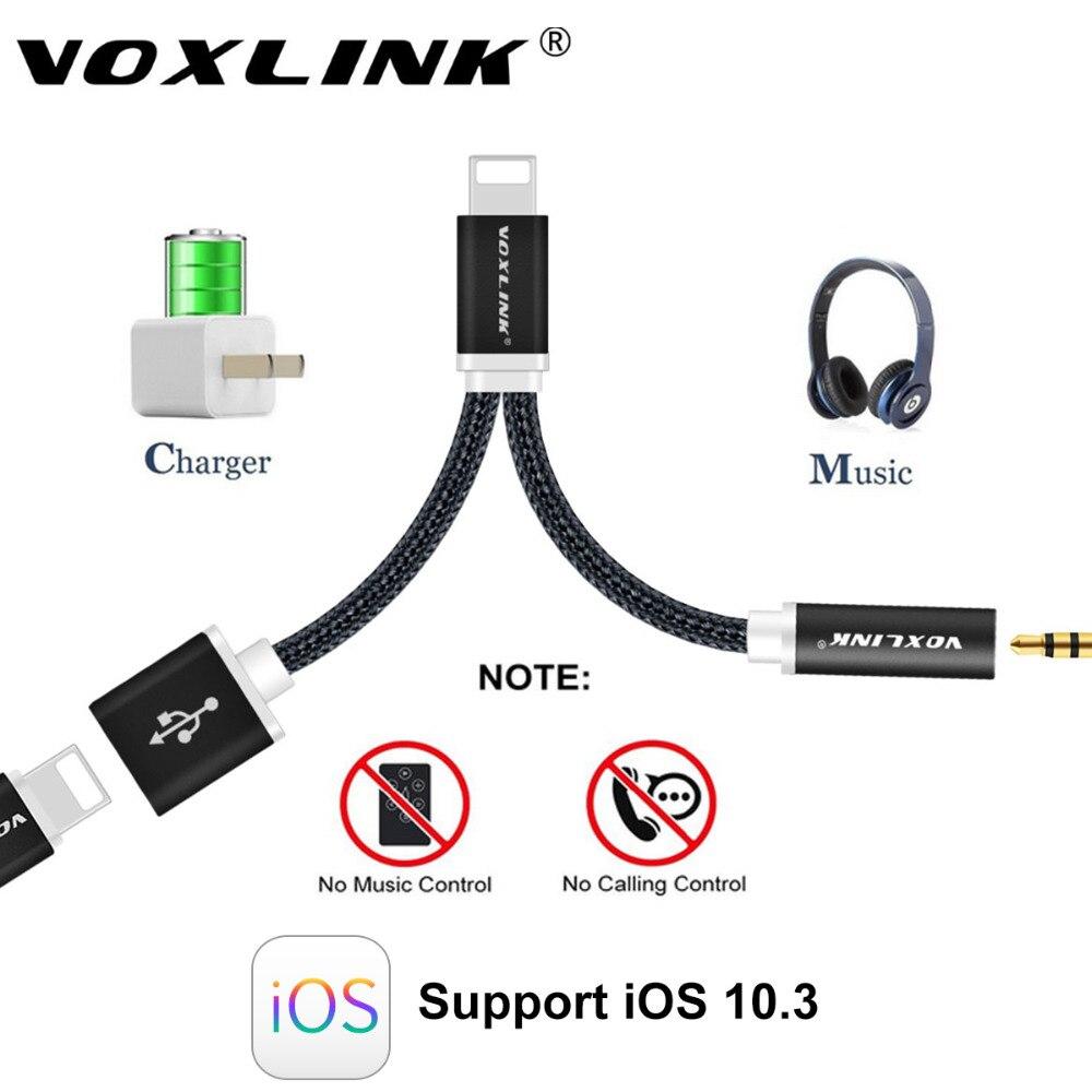 imágenes para VOXLINK 12 cm Cable de Audio para Auriculares Para el iphone 7 Plus 7 2 in1 8 Pines a 3.5mm Para Auriculares Jack Adaptador de Cargador Cable