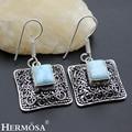 Hermosa Jewelry Advanced Fashion LARIMAR Retro 925 Sterling Silver Dangle Women Earrings HM233