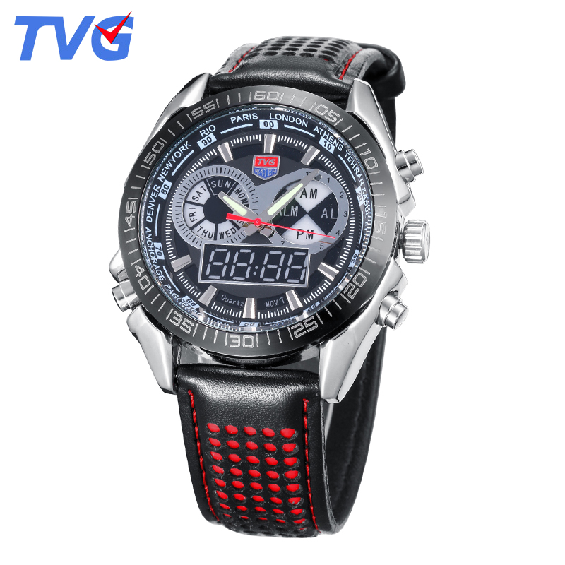 2016 Brand TVG Mens Watches High Quality Fashion Leather strap Waterproof Wristwatch For Men Analog Digital