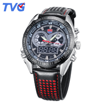 2016 Brand TVG Mens Watches High Quality Fashion Leather strap Waterproof Wristwatch For Men Analog Digital dual Display relojes
