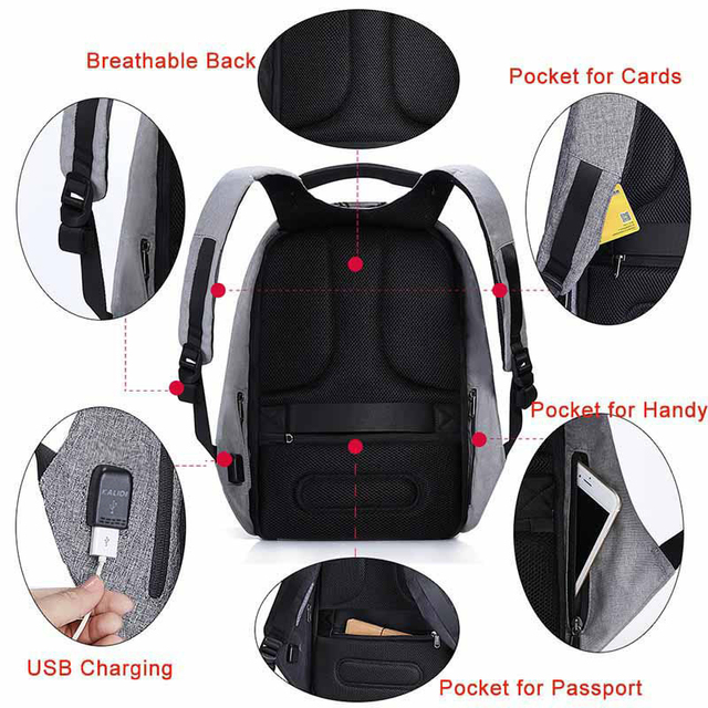 KALIDI Laptop Backpack 15.6-17.3 inch Anti theft Backpack USB Charge Notebook  Backpack Men Women Computer Backpack Waterproof b33a41a7c888a