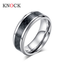 high quality Fashion Stainless Steel Carbon Fiber Ring for Men women Couple Ring Black Silver Color Male Jewelry engagement ring(China)