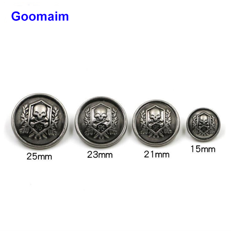100pcs fashion skull retro metal buttons overcoat sewing zinc alloy jean buttons for men 39 s sweater buttons in Buttons from Home amp Garden