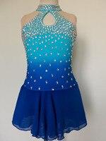 Синий Фигурное катание платья женщины конкурс на фигурных коньках платье Пользовательские Ice одежду, чтобы рисунок бесплатная доставка