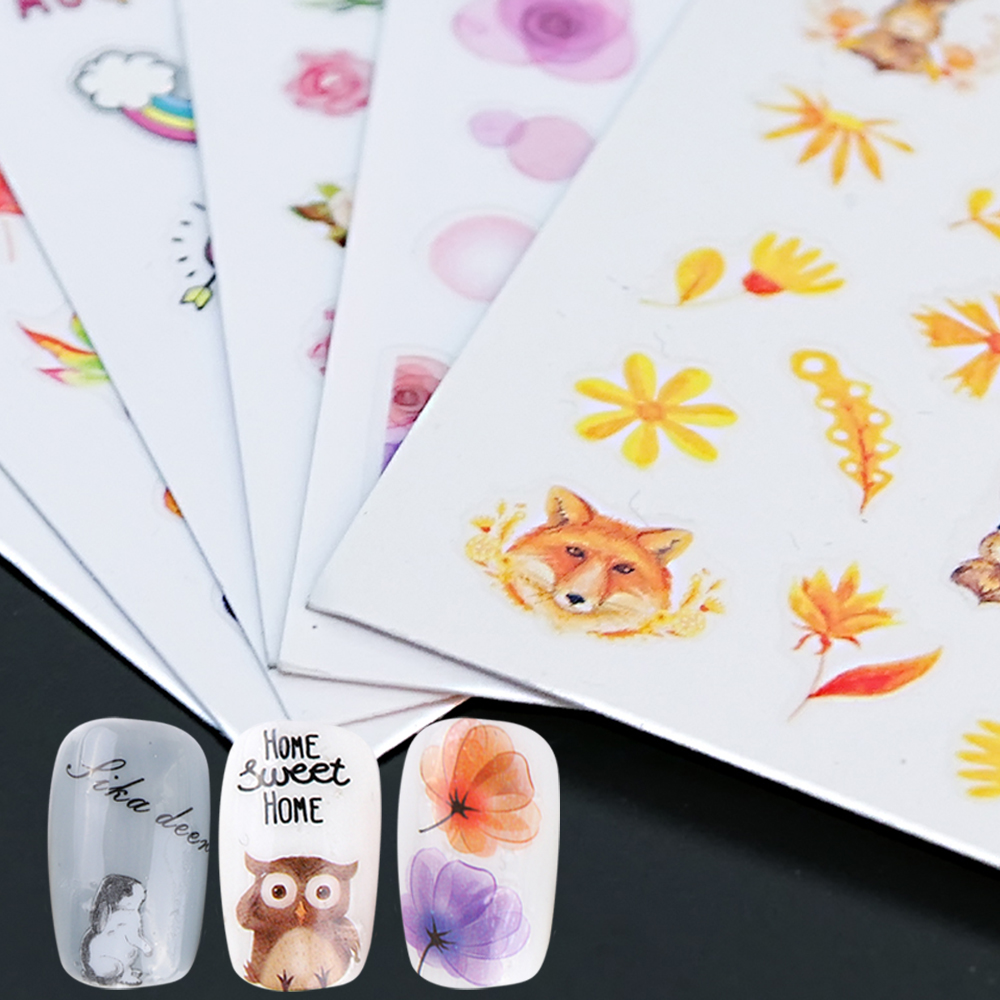 3D Nail Stickers Decal Sakura Daisy Lavender Floral Pattern Adheisve Transfer Tips Manicure Nail Art Decoration SAF/CA