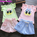 Malayu Baby 2016 explosion models cartoon duck eyes embroidered boats sleeve T-shirt + shorts   piece baby suit infant virgins