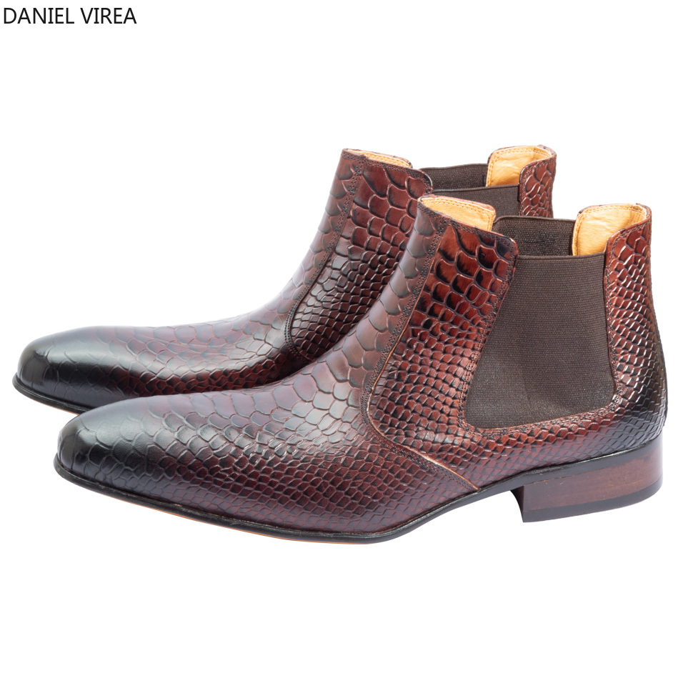 classic Chelsea men boots stylish scleroderm sapato social and luxury formal dress genuine leather men boots stylish men s formal shoes with patent leather and embossing design