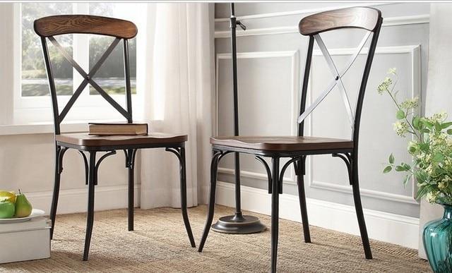 Amerikaanse dorp loft vintage houten stoel terug eetkamerstoelen ...