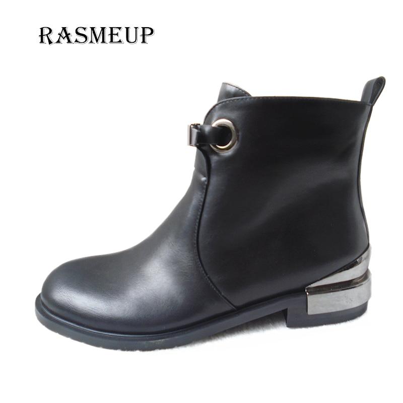 RASMEUP dédouanement femmes boucle Zipper bottines femme talons carrés Bling automne hiver bottes chaussures dames moto bottes