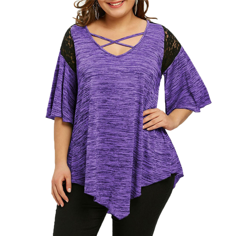 large size xl-5xl Women t shirt lace patchwork cross tied up short sleeves loose casual tops fashion shirts WS7092y