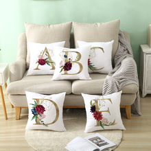 Nordic Style Geometric Golden letter Flowers Cushion Cover Sofa White Printed Home Decorative pillows cover Polyester pillowcase