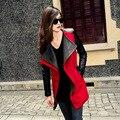 Бесплатная доставка PU лоскутное рукав куртки женщин нью-2014 2015 средней длины женская шерстяное пальто женщин мода, Jd019