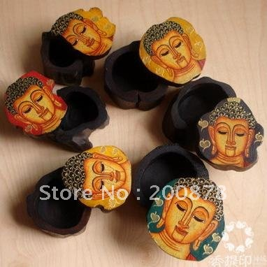 TJB939 Thailand hand painted wood jewelry box806245mmBuddha Face