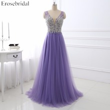 Light Purple Evening Dress Erosebridal Fancy Beading Bodice Sexy V Neck Robe De Soiree A Line Long Formal Women Vestido Festa