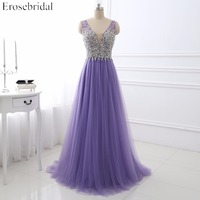 Light Purple Evening Dress Erosebridal Fancy Beading Bodice Sexy V Neck Robe De Soiree A Line Long Formal Women Vestido De Festa