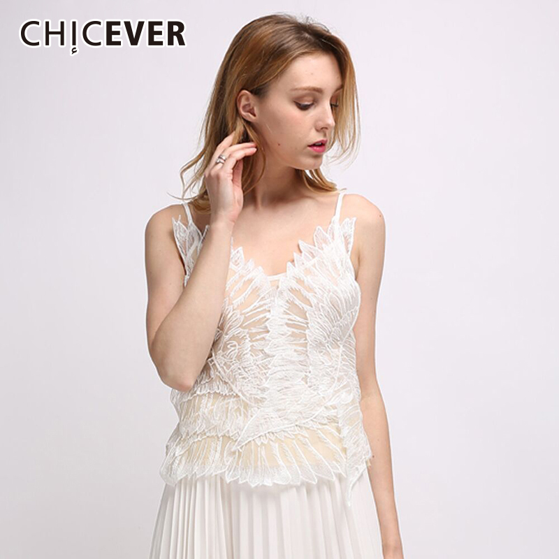CHICEVER Sexy Off Shoulder Lace Tank Top For Women Chiffon Spaghetti Strap Summer Womens Tops Camis Clothes Fashion 2018 New