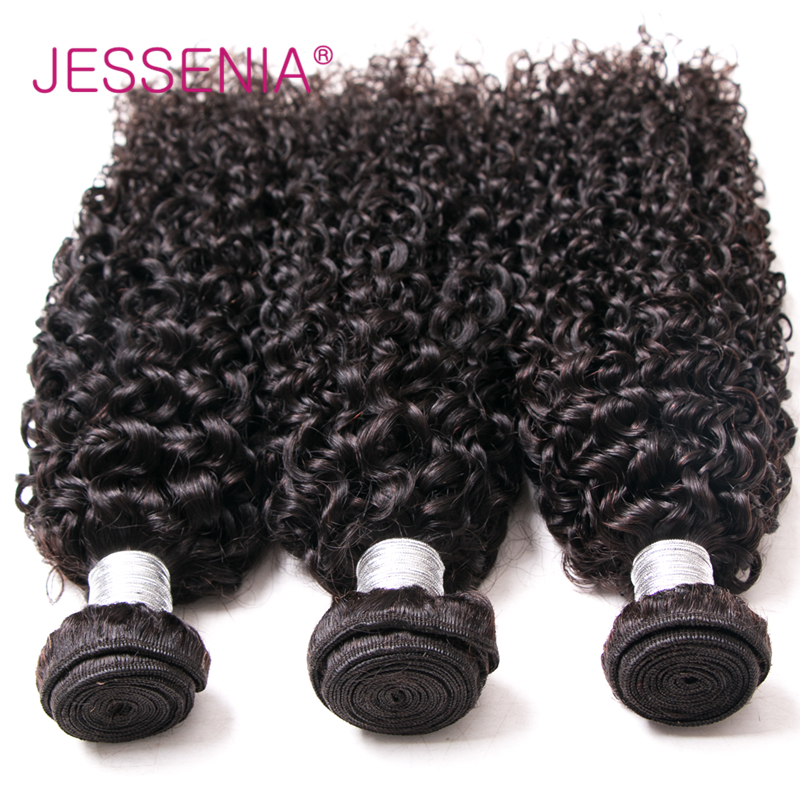 JESSENIA Hair Curly Human Hair Extensions Hair Products Peruvian Non Remy 3Bundles Deals Per Lot No Tangle No Shedding Free Ship