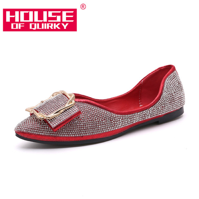 Women Flats Shoes Fashion Pointed Toe Rhinestone Shallow Mouth Shoes Woman  Slip On Comfortable Shoes Female Casual Moccasins f64ca012ec39