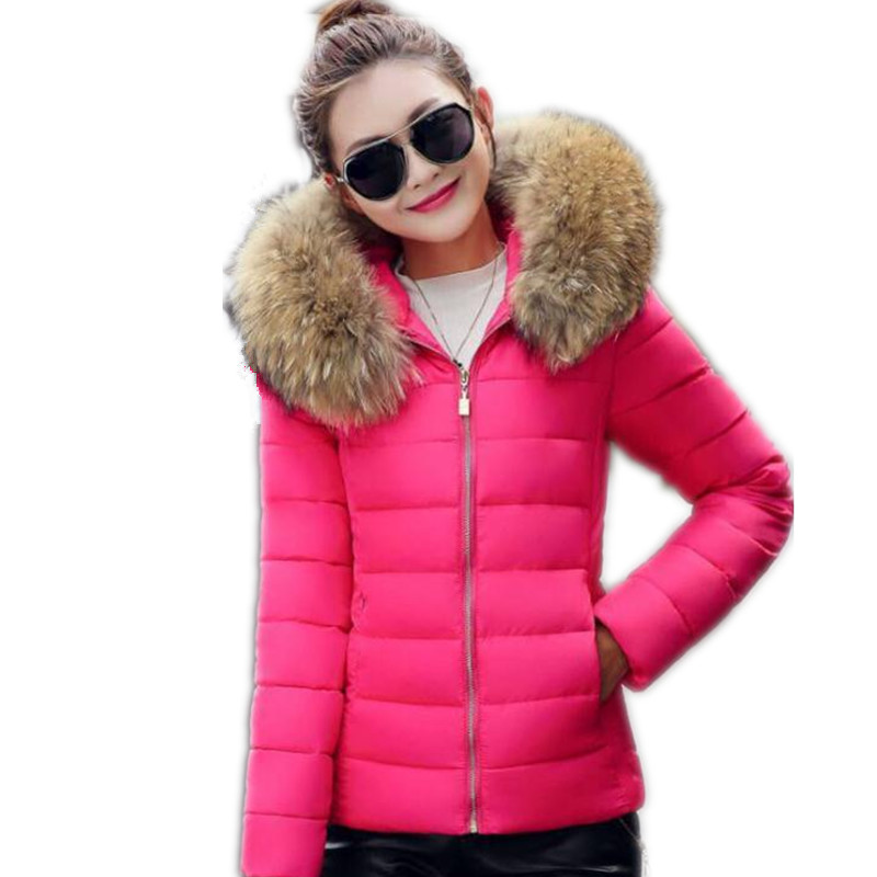 Plus Size 5XL Winter Women Short   Parkas   Outerwear Casual Female Down Cotton Jacket Hooded Fur Collar Slim Female Padded 2018Q569