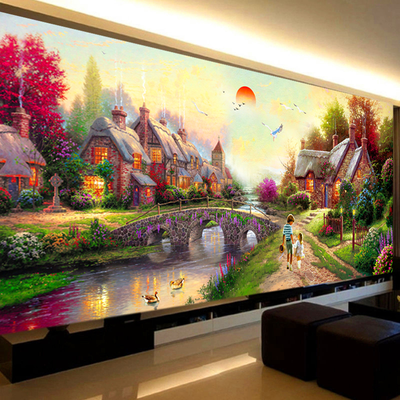 Newest Big Size Landscape Painting 5D Fantastic Garden Cottage Creative Diamond Embroide ...