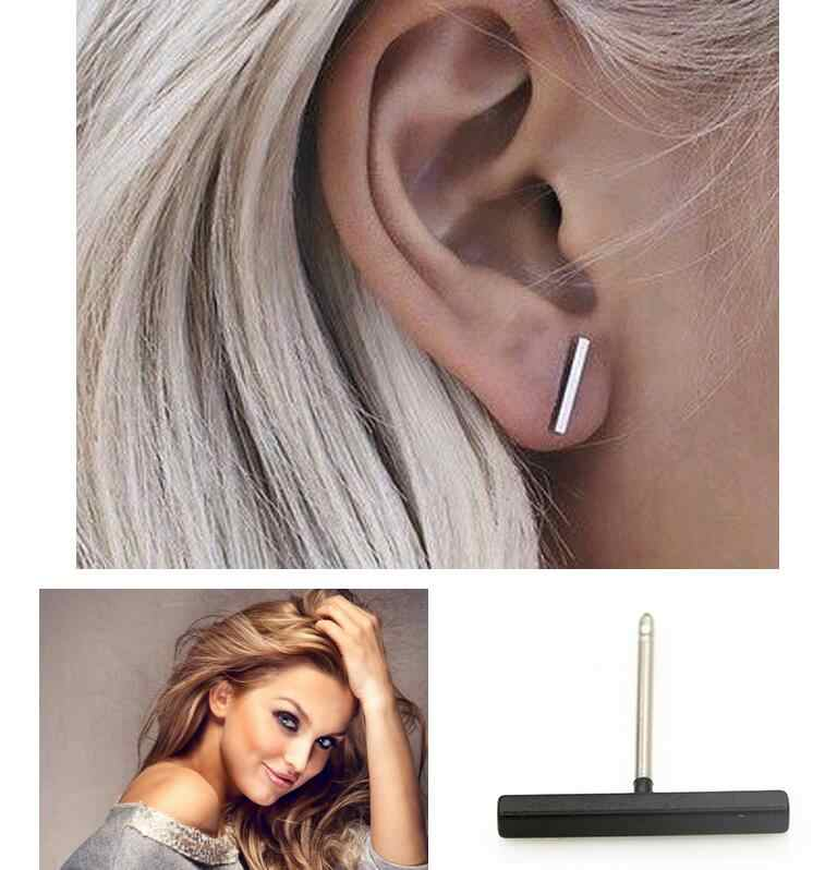 2019 new fashion brief 2cm trendy geometric bar stud earrings earing  for women alloy nickel free gold silver color wj348
