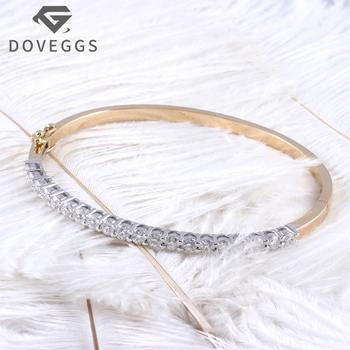 DOVEGGS 14K Two Tones Gold Yellow and Write 2CTW 3mm F Color Clear Moissanite Bangle Bracelets
