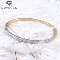 DOVEGGS 14K Two Tones Gold Yellow and Write 2CTW 3mm F Color Clear Moissanite Bangle Bracelets Wrist Size 18 for Women