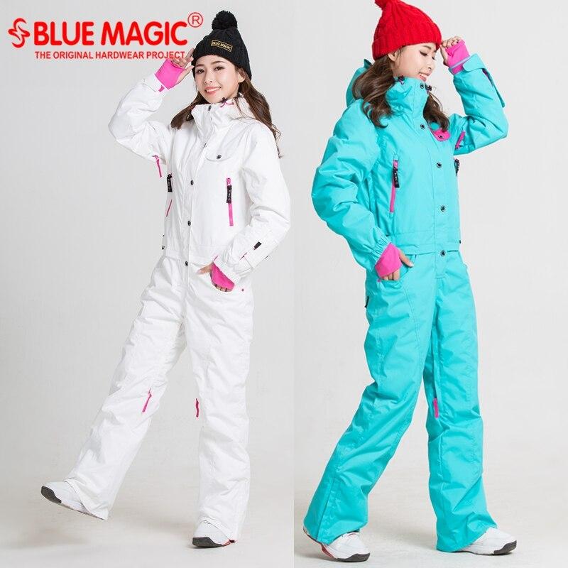 Bleu magie nouveau d'hiver ski costumes kombez neige veste salopette femmes snowboard ski veste pantalon étanche body Russie