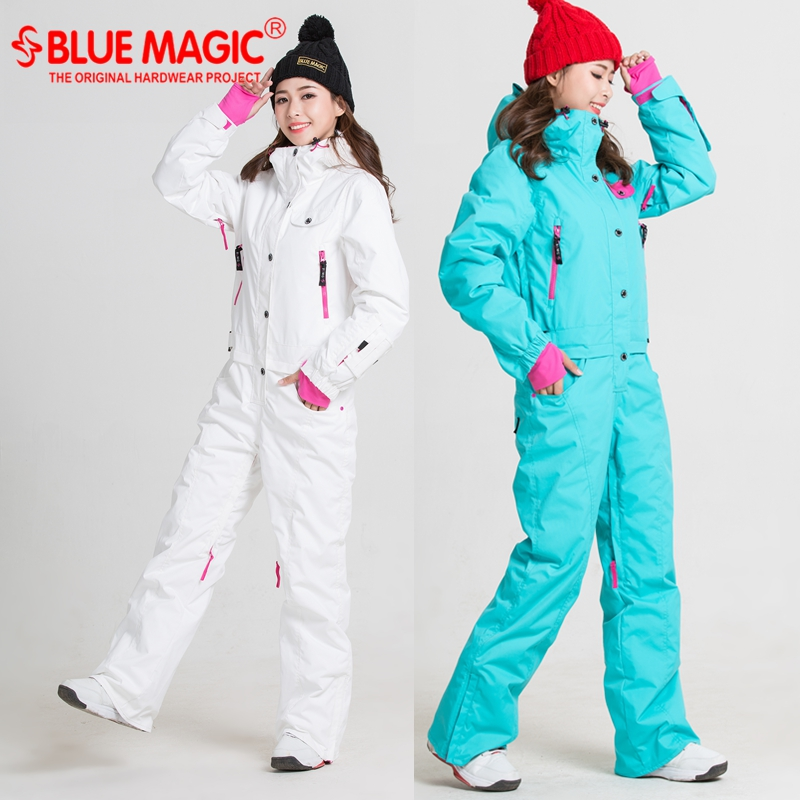 Blue magic new winter snowboard kombez ski jacket and pant ski suits females jumpsuit women snowboard