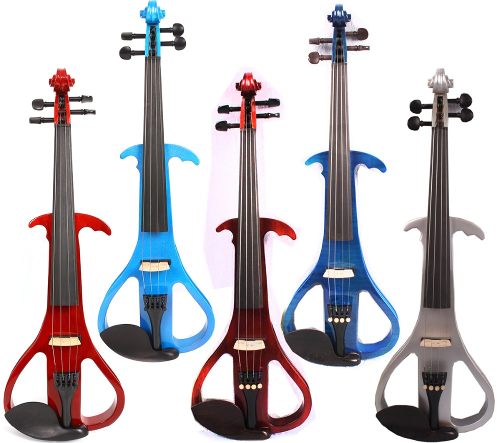 Yinfente 4/4 Electric violin Silent Full Size Ebony Fittings Free Violin bow Case Rosin Colors beautiful blue violin 4 4 1 4 3 4 1 2 1 8 size available violin full set with bow rosin bridge case colorful violins available
