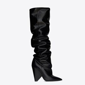 Image 3 - BuonoScarpe להחליק על הברך גבוהה מגפי 2019 קונוס עקבים קפלים אופנה נשים מגפיים גבוהה עקבים גבירותיי מותג עיצוב נעלי אביר נעל