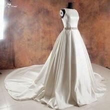 RSW1014 Beaded Illusion Backless Long Tail Wedding Dresses Satin