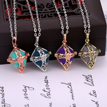Aromatherapy jewelry Vintage silver Cross Cage Tree of life Necklace Aroma Diffuser Perfume Locket Pendant
