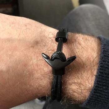 Anchor Bracelet Men Charm Survival Rope Chain Bracelets Paracord Fashion Black Color Anchor Bracelet Male Wrap Metal Sport Hooks 4