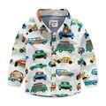 Spring & summer new baby clothing meninos camisas de algodão de impressão carro de manga longa das crianças roupa dos miúdos