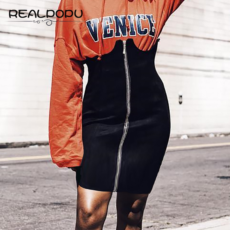 Realpopu 2017 Summer Casual Party Club Bodycon Short Sexy Mini Skirts Women Vintage High Waist Pencil Skirt Black Fashion Zipper