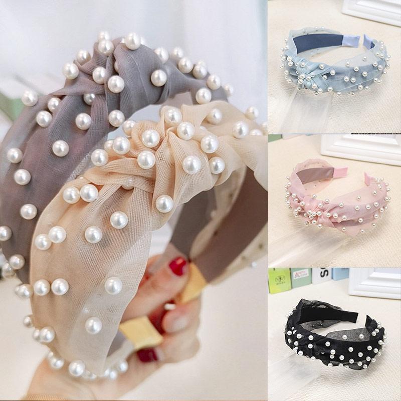 Sale 2019 Korean Sweet Pearl Chiffon Headband Cross Handmade Velvet Hair Hoop Hairbands Adult Hair Styling Accessories
