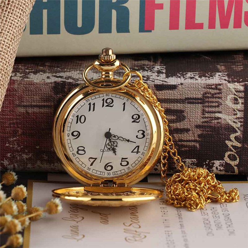 Vintage Gold Locomotive Motor Railway Train Steampunk Pocket Watch For Men Women Charming Pendant Necklace Clock Relogio