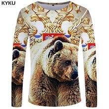 a5cf25d6bc8a938 KYKU Бренд медведь с длинным рукавом футболка футболки с принтом короны Флаг  Одежда Россия футболка Топы 3d Футболка мужская хип.