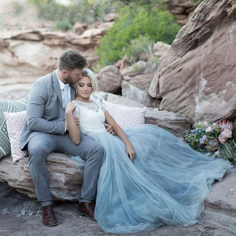 Colored Boho Wedding Dress with Jacket 2 Piece Short Sleeve Lace ...