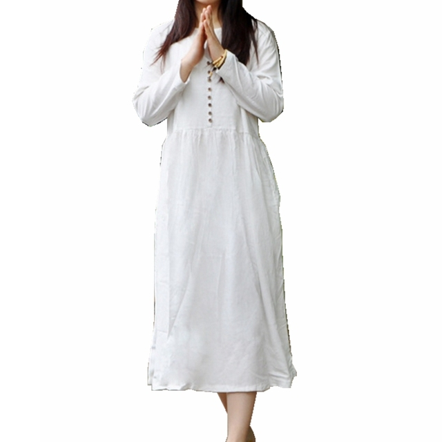 Linen Long Sleeve Maxi Dress