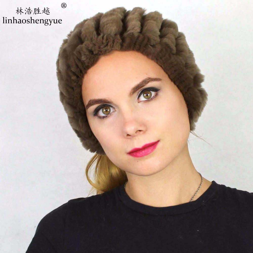 Linhaoshengyue fashion REX FUR women hat Headgear winter warm freeshipping 100 fur