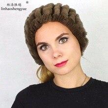 Linhaoshengyue моды РЕКС МЕХА женщины hat Головные Уборы зима теплая freeshipping 100% мех