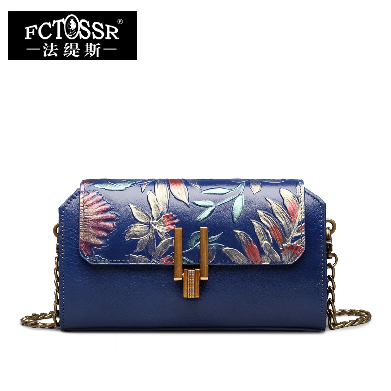 Genuine Leather Women Bag Metal Strap Shoulder Bag Hand Painted Female Day Clutch Handmade Messenger Crossbody Bag Women Purse women genuine leather character embossed day clutches wristlet long wallets chains hand bag female shoulder clutch crossbody bag