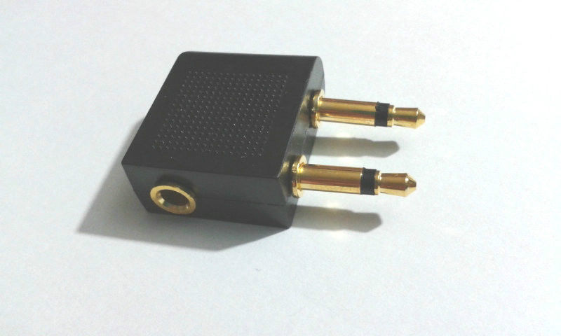 100 X Gold plated Airplane Airline Air Plane Travel Headphone Earphone Jack Audio Adapter 3 5mm