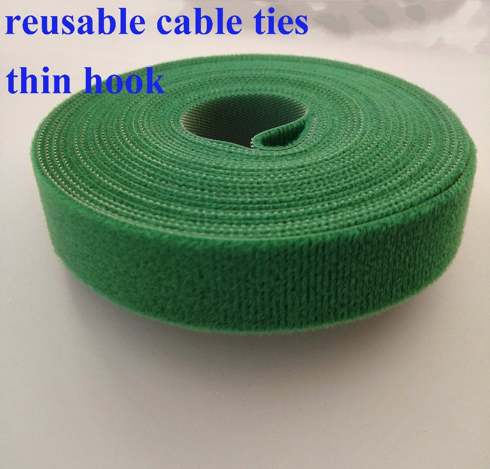 green 15mm*25M reusable nylon cable ties Self-gripping Strap Stick Ties Computer PC TV Wire Management magic tape hook loop ties