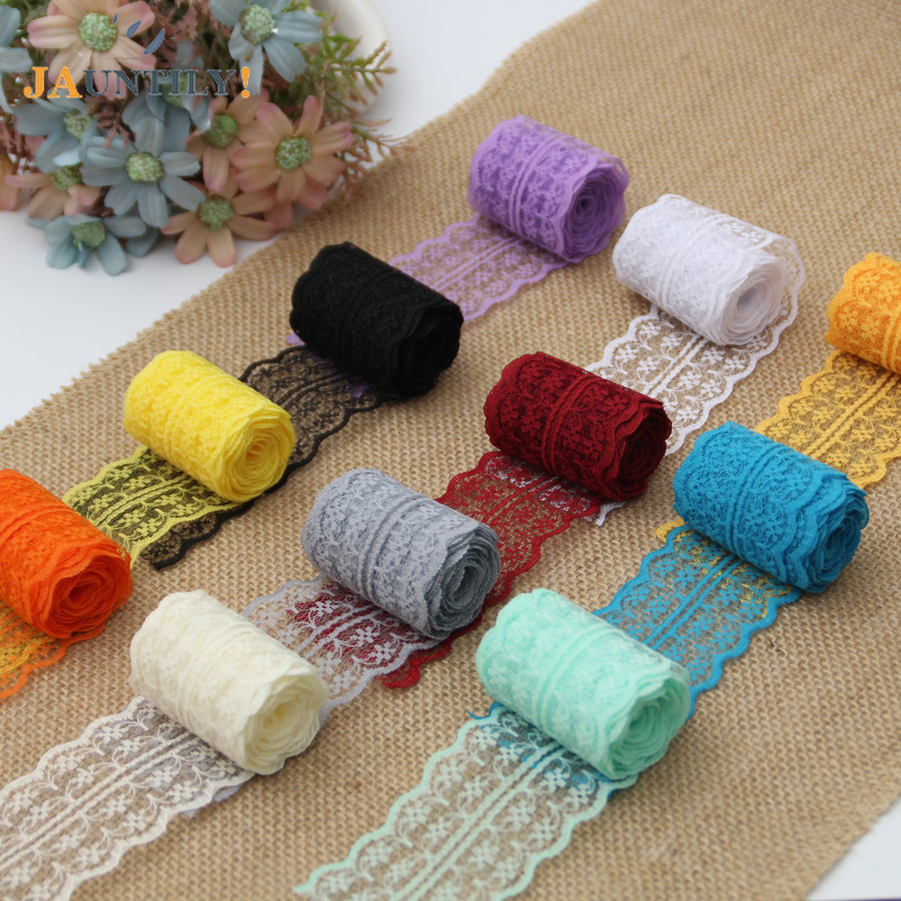 15 Colors New 4 5CM Wide 10 Meters Lengh Beautiful Lace Ribbon DIY Decoration Accessories Holiday Party Wedding Decorations in Lace from Home Garden