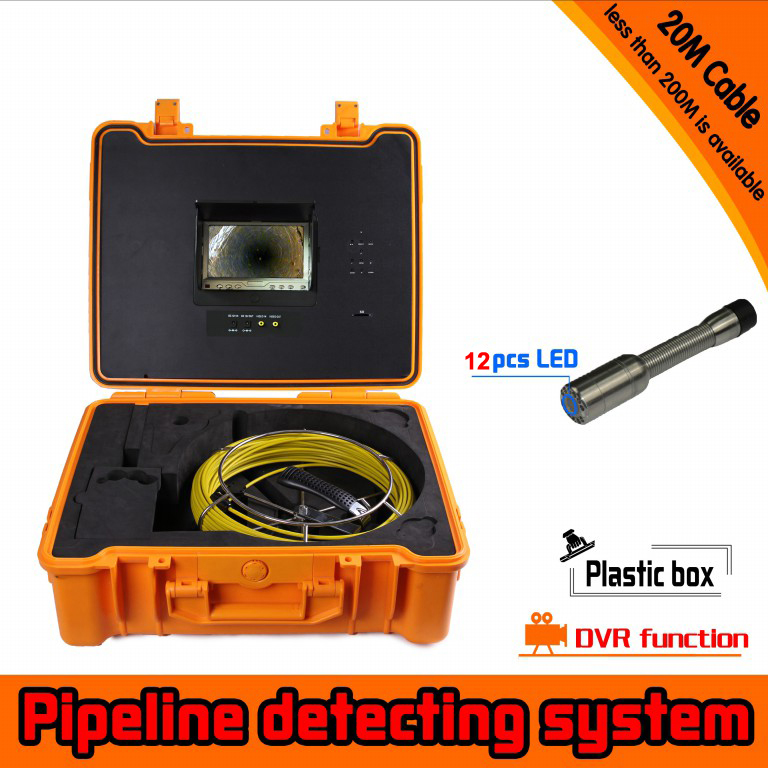 20m Cable Fiber Glass 7'' TFT LCD DVR Waterproof Pipe Sewer Inspection Camera 1/3 CMOS 12 Leds Endoscope Snake Camera