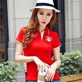 Плюс Размер Тонкий Поло Женщины 2016 Письмо Красные Рубашки Для Женщины С Коротким Рукавом отложным Воротником Вышивка camiseta поло feminina B006